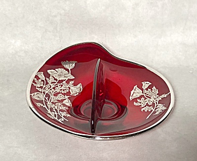 Viking Epic line #1160 Ruby glass sterling silver Poppy decoration divided dish (Image1)