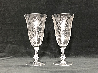 """Pair of 7"""" tall 1936-1953 Cambridge Rosepoint etch Stem 3121 footed goblets (Image1)"""