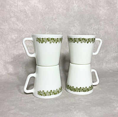 Set Of 4 Vintage 1972-1978 Pyrex Spring Blossom Green 1410 9 Ounce Coffee Mugs