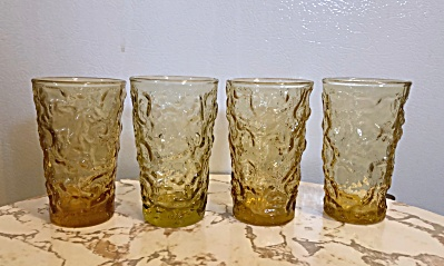 Vintage Anchor Hocking Lido Set 4 Honey Gold 5 Ounce Juice Glasses