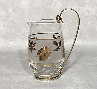 Libbey Midcentury Golden Foliage Cocktail Pitcher In Brass Holder