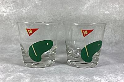 Pair of slant side Midcentury rocks cocktail glasses for the golf lover (Image1)