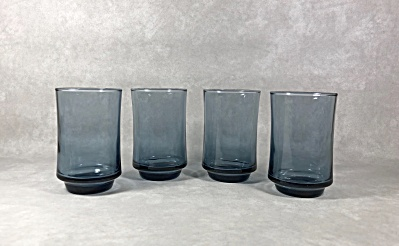Libbey Set 4 Vintage Bolero Shape Dusky Blue 5 Ounce Juice Glasses