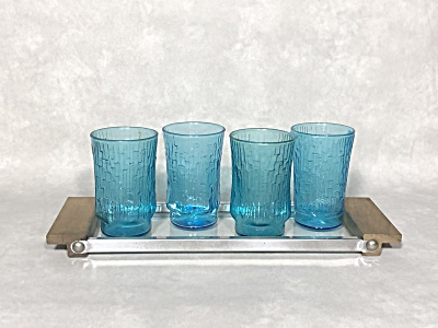 Anchor Hocking Midcentury Set Of Four 5 Oz. Laser Blue Pagoda Juice Glasses