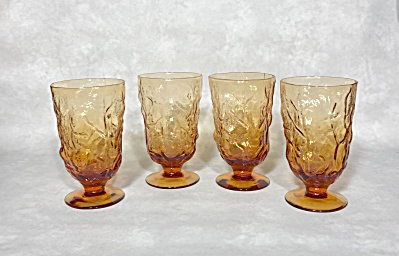 Set Of Four Seneca Driftwood 5 1/2 Inch Tall Amber Cocktail Goblets
