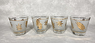 Set Of Four Libbey Golden Foliage Look-a-like 3 1/4 Inch Flared Side Rocks Glass