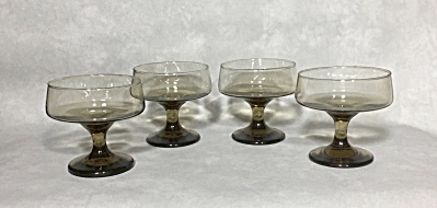 Set Of Four 1970-1979 Libbey Accent Line #3778 8 Ounce Champagne / Sherbet Glass