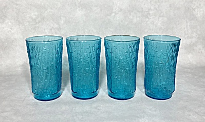 Anchor Hocking Midcentury Set Of Four 12 Ounce Blue Pagoda Beverage Glasses
