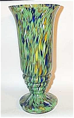 Czech 11 inch green blue mottled vase (Image1)
