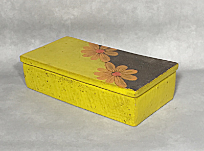 Bitossi Mid century yellow orange flower cigarette box (Image1)