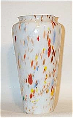 Kralik? Czech Glass Inch White Mottled Vase