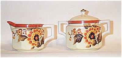 Noritake 6 sided creamer/sugar Deco florals (Image1)