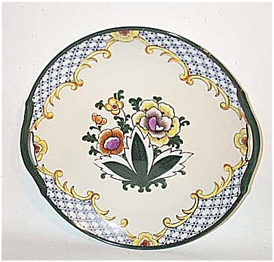 Noritake Deco Floral Handled Cake Plate