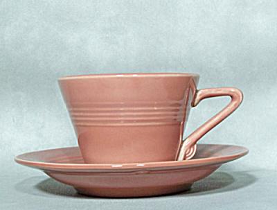 Homer Laughlin Harlequin rose cup & saucer (Image1)
