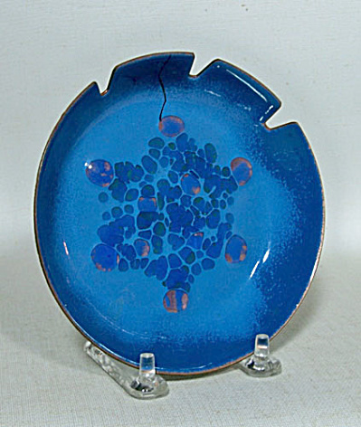 "Bovano 5"" Snowflake blue  enamel ashtray (Image1)"