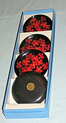 Bovano Red Flowers coaster boxed set (Image1)