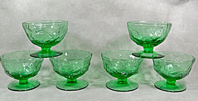 set Morgantown Crinkle Green footed sherbets (Image1)