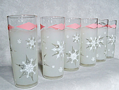 set midcentury Snowflake pink frosted glasses (Image1)