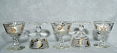 set 5 Libbey golden leaves cocktail goblets (Image1)