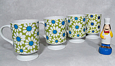 Set 4 mod floral midcentury footed mugs (Image1)