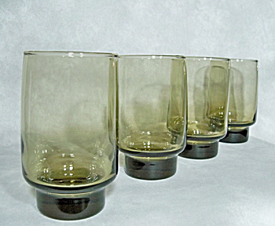 Libbey Glass Set 4 Tawny Accent 12 Ounce Beverage Glasses