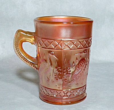 Dugan Diamond Stork Rushes carnival glass mug (Image1)