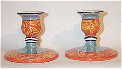 Noritake Pair Of Orange Deco Candleholders