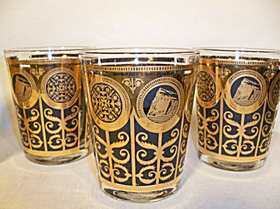 Libbey black gold set 4 Rocks 15 oz glasses (Image1)
