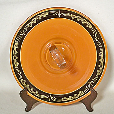 Art Deco orange black sandwich server (Image1)