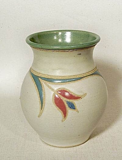 Marcy Mayforth 1994 Green Tulips Vase