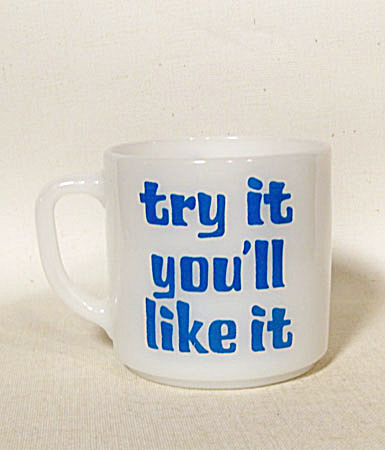 Federal Glass Try It milk glass coffee mug (Image1)