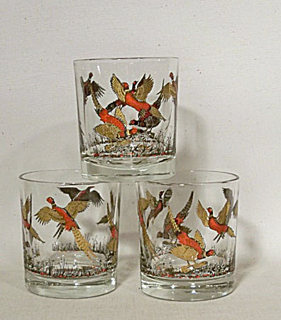 Hazel-Atlas set 3 Pheasant old fashioned  (Image1)