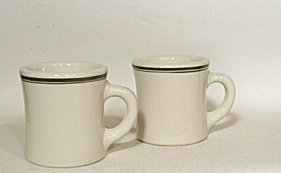 pair green band Victor diner coffee mugs (Image1)
