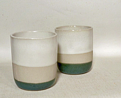2 Tri color Bennington Potters 1227M tumblers (Image1)