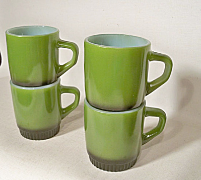 Anchor Hocking set 4 Green Fire-King mugs (Image1)