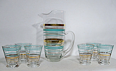 Mad Men Martini pitcher with 6 banded glasses (Image1)