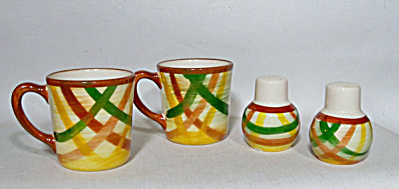 Vernon Kilns Homespun 2 coffee mugs 2 shakers (Image1)