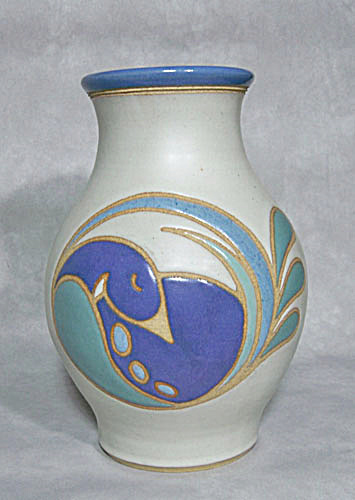 Marcy Mayforth 1986 blue Duck vase (Image1)