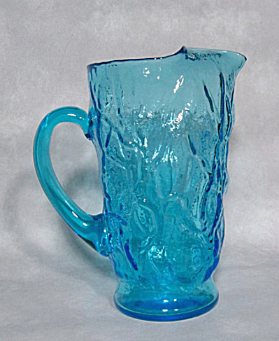 Morgantown Crinkle Peacock Blue pitcher (Image1)