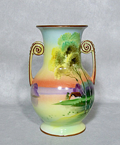 Nippon small handled green mark scenic vase (Image1)