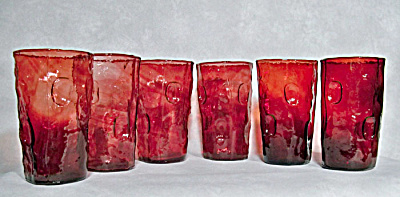 set 6 Decatur ruby flashed flat tumblers (Image1)