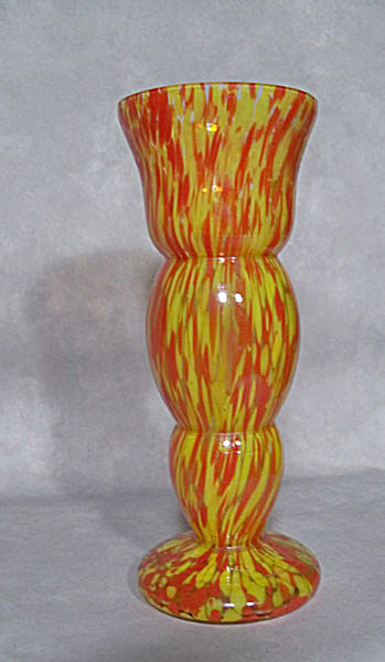 Czech Welz Art Deco Red Yellow Vase