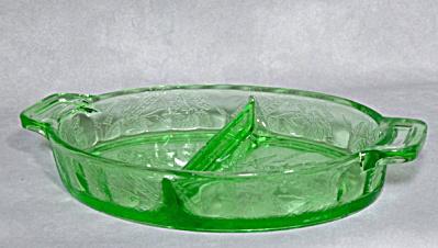 Jeannette Floral green depression relish dish (Image1)