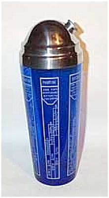 Deco cobalt cocktail shaker w/ recipes (Image1)