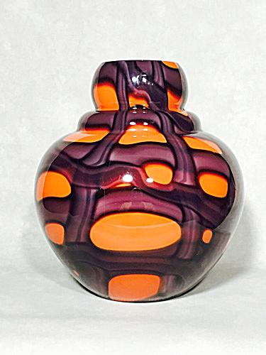 Kralik Art Deco 8 inch red purple signed vase (Image1)