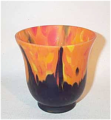 Czech 4 Inch Satin Orange Colbalt Glass Urn
