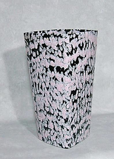 Ballard #10 square vase pink black mottled (Image1)