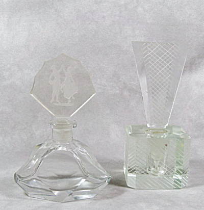 pair Art Deco clear glass perfume bottles (Image1)