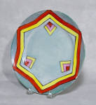 Talk about Deco!  This Made in Japan red cherry blossom mark plate is a knockout. Wish it were signed Noritake, but no such luck! On a gray lustre background is a hexagonal two band pattern which juxtaposes with three 3 color geometric shapes. Fun and sassy. Very good condition. Have two of them. Priced each.