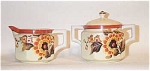 Click here to enlarge image and see more about item 3249: Noritake 6 sided creamer/sugar Deco florals